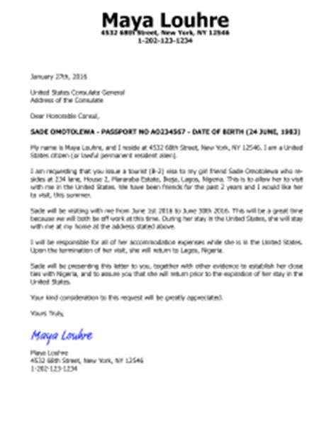 Invitation Letter For Visa For Niece invitation letter for us visa b2 tourist