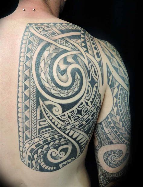 polynesian back tattoo black and grey roses shoulder adorned