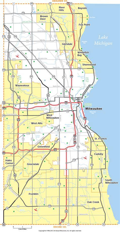 map of milwaukee milwaukee county wisconsin map