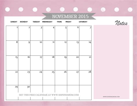 calendar template with notes november 2015 calendars