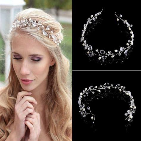 Hair Ornaments Imitation Pearl Headband 1pcs vintage faux pearl tiara drop bridal headband