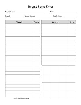 rounders score card template printable boggle score sheet