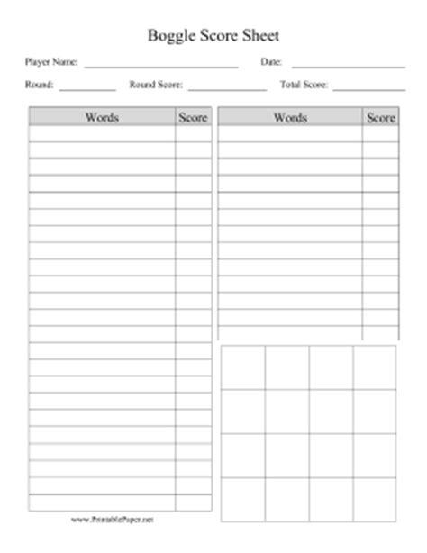 Simple Score Sheet by Printable Boggle Score Sheet