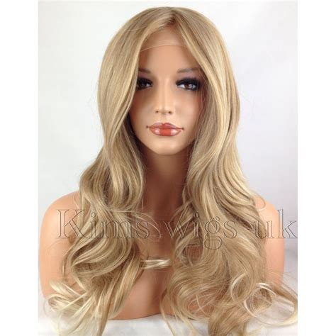 hair blonde front black back blonde tipped heat resistant long womans ladies wavy lace