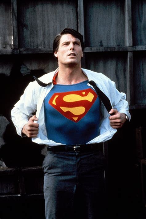 christopher reeve plays superman changing from clark kent to our hero superman