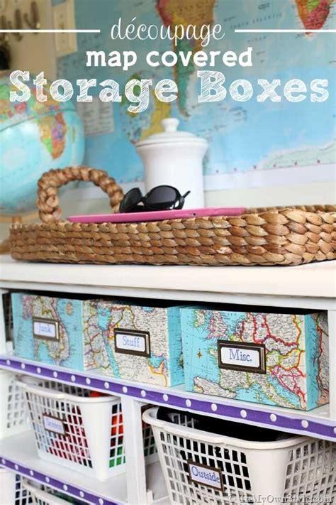 Decoupage Shoebox - map covered shelf organizing using shoeboxes decoupage
