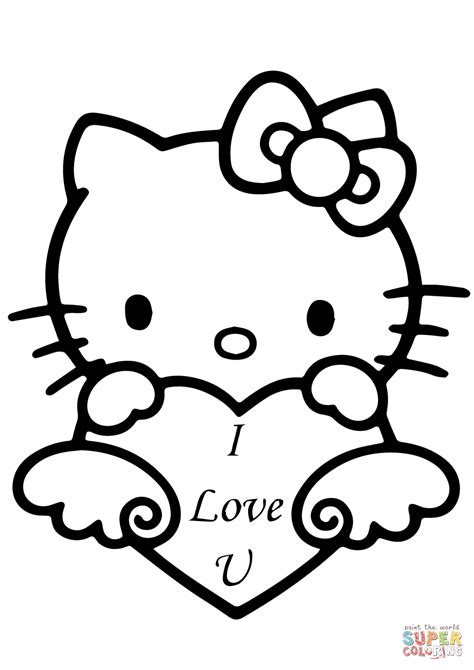 i love you heart coloring page hello kitty with quot i love you quot heart coloring page free