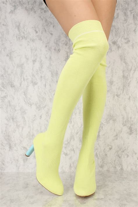 A Late Addition To The Yellow Shoe Roundup Patent Peep Toe Pumps From Bcbgirls To 4999 At Smartbargains by Yellow Pointy Toe Thigh High Chunky Heel Sock Boots