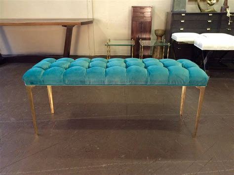 tufted velvet bench custom made long bench in tufted teal velvet with brass stiletto legs at 1stdibs