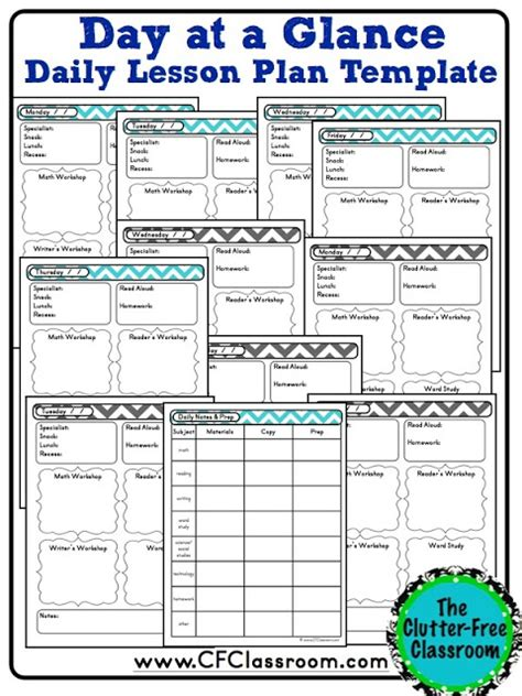 week at a glance lesson plan template day at a glance template calendar template 2016