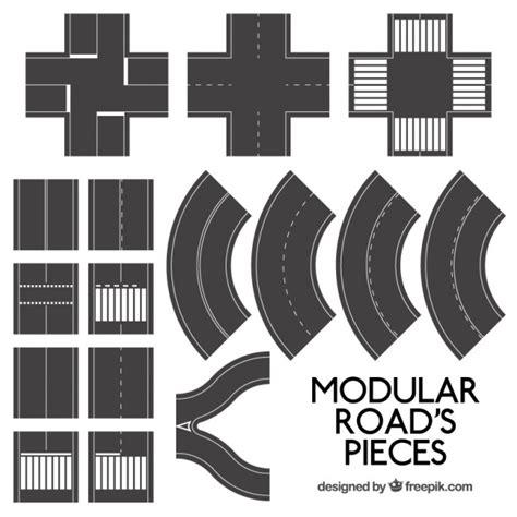 printable road tracks carreteras modulares piezas descargar vectores premium