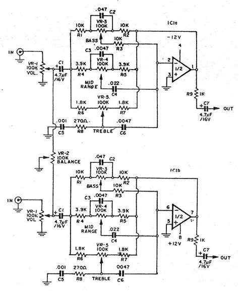 Pre Tone Stereo 3 bass mid treble tone circuits projects using