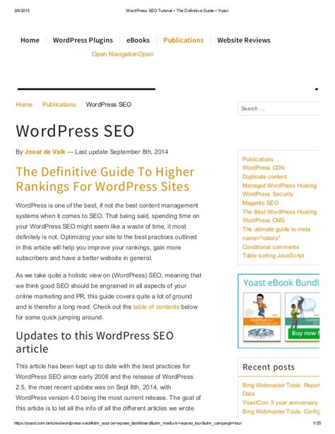 wordpress tutorial guide the definitive guide to higher rankings for wordpress