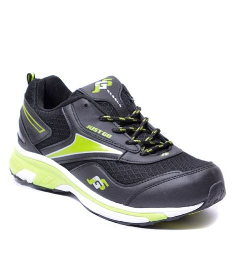 just go black green running sport shoes price in india