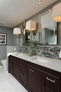this gray contemporary bathroom features a vanity