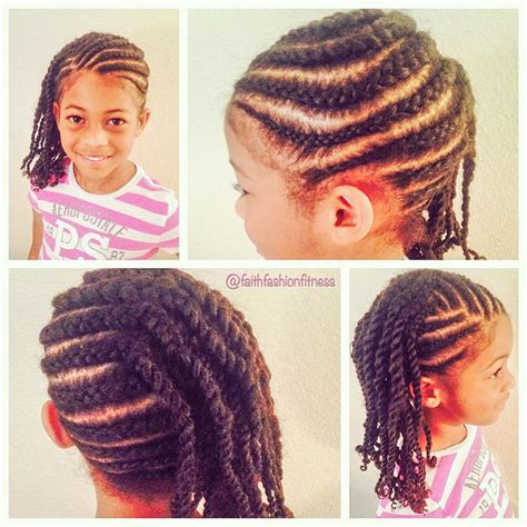 Cornrows ending on two strand Marley twists Natural hair Kids hairstyle Natural hair kids