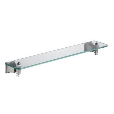 Pegasus Exhibit 24 In W Glass Shelf In Brushed Nickel Glass Shelves Home Depot