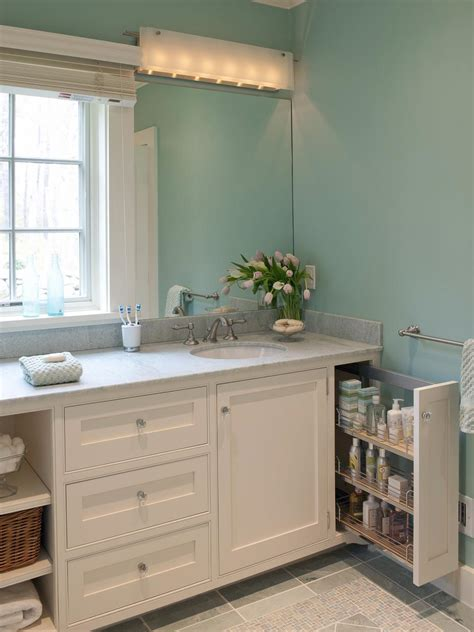 storage bathroom ideas 18 savvy bathroom vanity storage ideas hgtv
