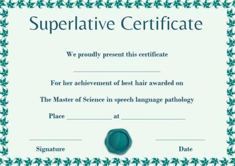 Superlative Award Templates Free