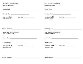 detention slip template printable detention slip 1 4 page size by detroitteacher tpt