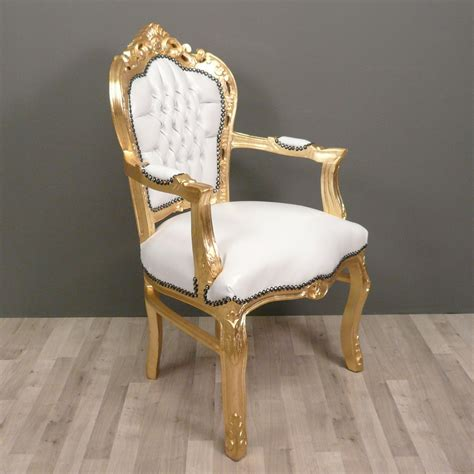 White And Gold Armchair Baroque Armchair White And Gold Baroque