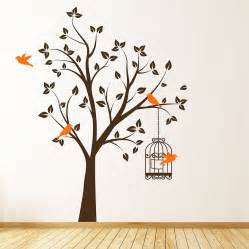 stickers on wall tree with bird cage wall stickers by parkins interiors