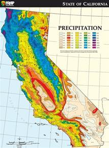 california average annual precipitation climate map with
