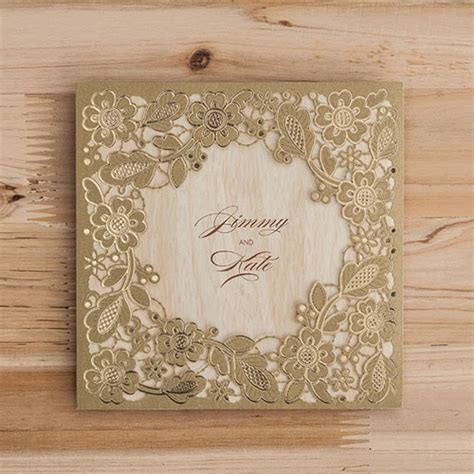 pcs gold marriage wedding invitations cards laser cut