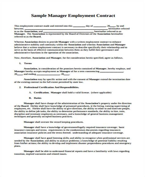 general manager contract template 42 sle contract templates free premium templates