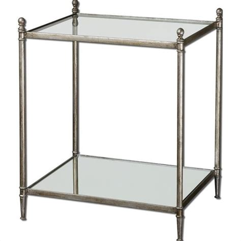 silver and glass end tables uttermost gannon mirrored glass end table in antiqued