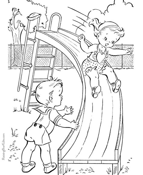 playing on swings coloring sheet printable coloring pages