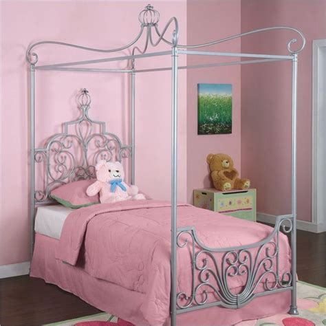 princess canopy bedroom set powell furniture princess rebecca quot sparkle silver quot twin