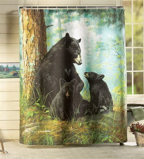 curtains with bears on them northwood bathroom decor black bear family in forest