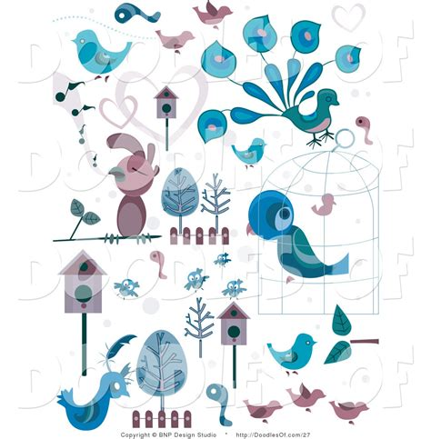doodle bird free vector vector clipart of blue and pink bird doodles by bnp design