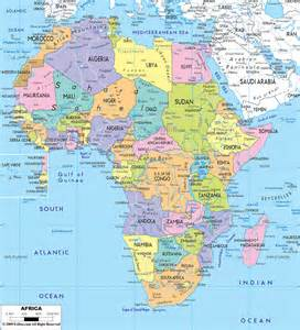 large detailed political map of africa with all roads