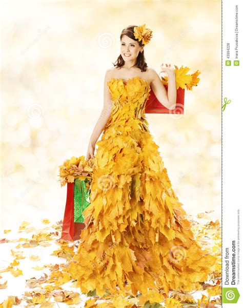 45215 White Autumn Leaves S M L Dress Le180118 Import shopping happy in autumn fashion dress of ye stock photo image 43994228