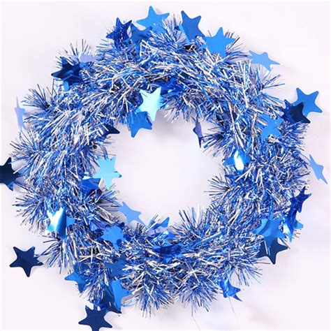 blue and silver 24cm tinsel wreath