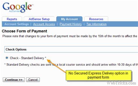 adsense express major adsense bug no secured express delivery option
