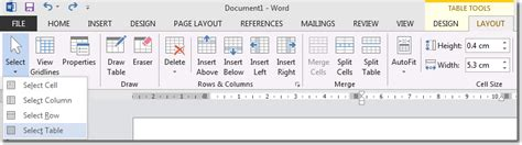 table layout tab word word 2013 table borders