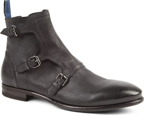 monk boots mens alberto guardiani bonton threestrap monk boots in gray for