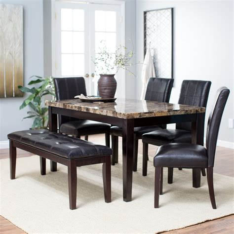 bench dining set finley home palazzo 6 piece dining set with bench dining