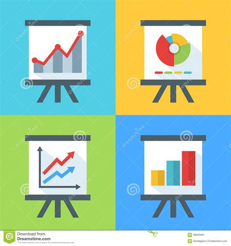 graph and diagram icon set stock vector illustration of vector set of flat diagram and chart icons on the board