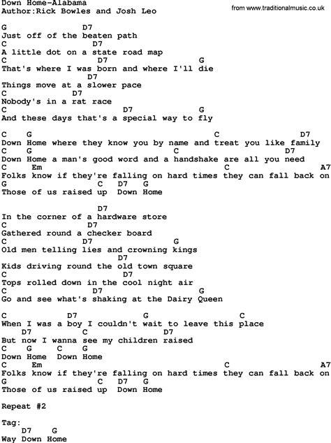 Home S In Alabama Lyrics by Country Home Alabama Lyrics And Chords
