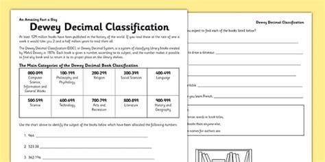 Dewey Decimal System Worksheets by All Worksheets 187 Dewey Decimal System Worksheets Exercises