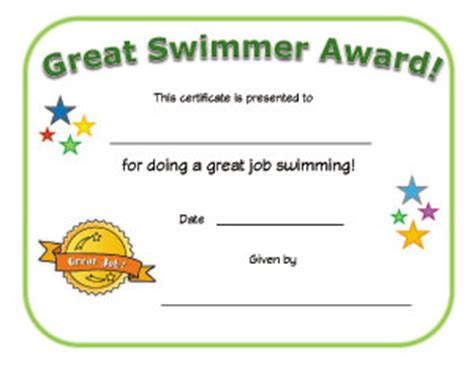 certificate templates for swimming awards great swimmer certificate all kids network