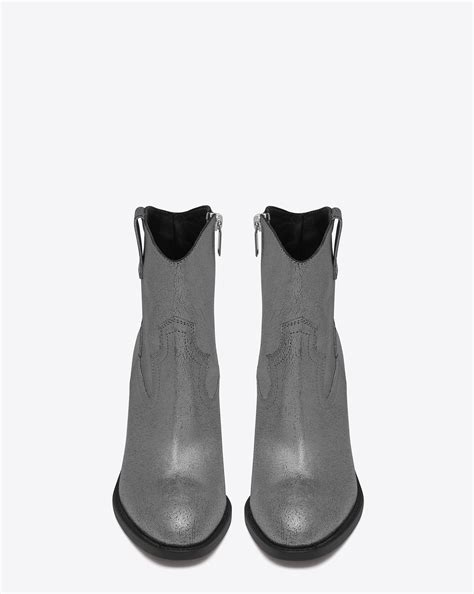 Shoe La La Silver Ankle Boots For by Laurent Curtis 80 Western Ankle Boot In Silver