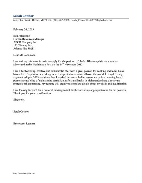 chef cover letter template chef cover letter template