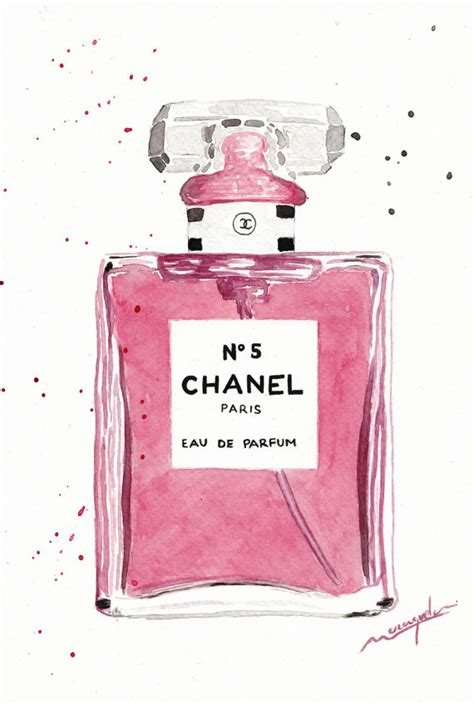 Parfum Chanel Pink chanel n 186 5 parfum bottle watercolor pink chanel n 5 by maraquela other