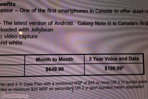 rogers prices the samsung galaxy note ii at 649 99 on a