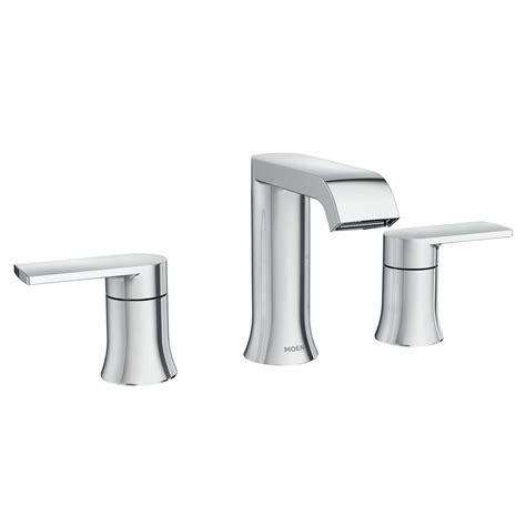 Bathroom Faucets Widespread Chrome Moen Genta 8 In Widespread 2 Handle Bathroom Faucet In